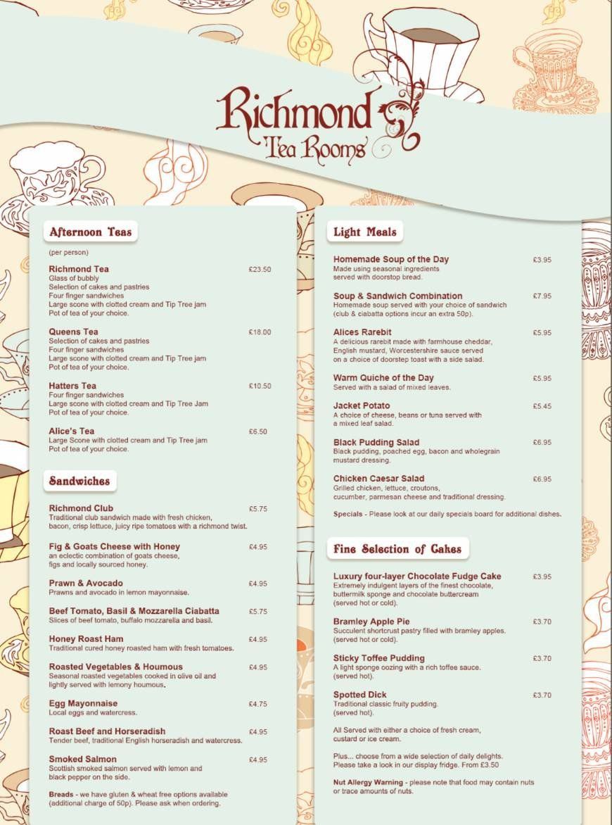 Menus Prices 2 Pages The Richmond Tea Rooms Manchester