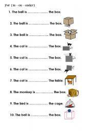 English Worksheet Preposition In On Under Preposition