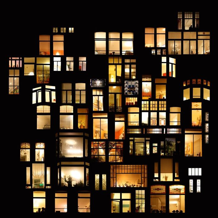 Looking in Windows at Night | Night windows in collages of