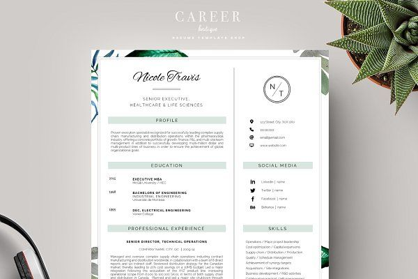 Resume Templates Careerboutique  Modern Resume  Coverletter