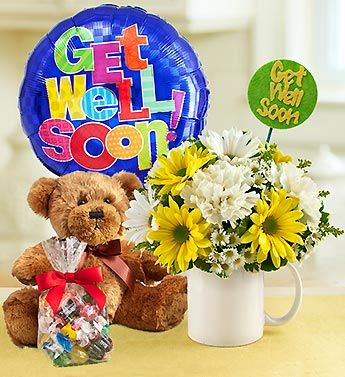 Mugable To Say Get Well Flowers Balloon And Plush Bear Teddybear Candy Getwellsoon Feelbette Get Well Flowers Birthday Flower Delivery Birthday Flowers