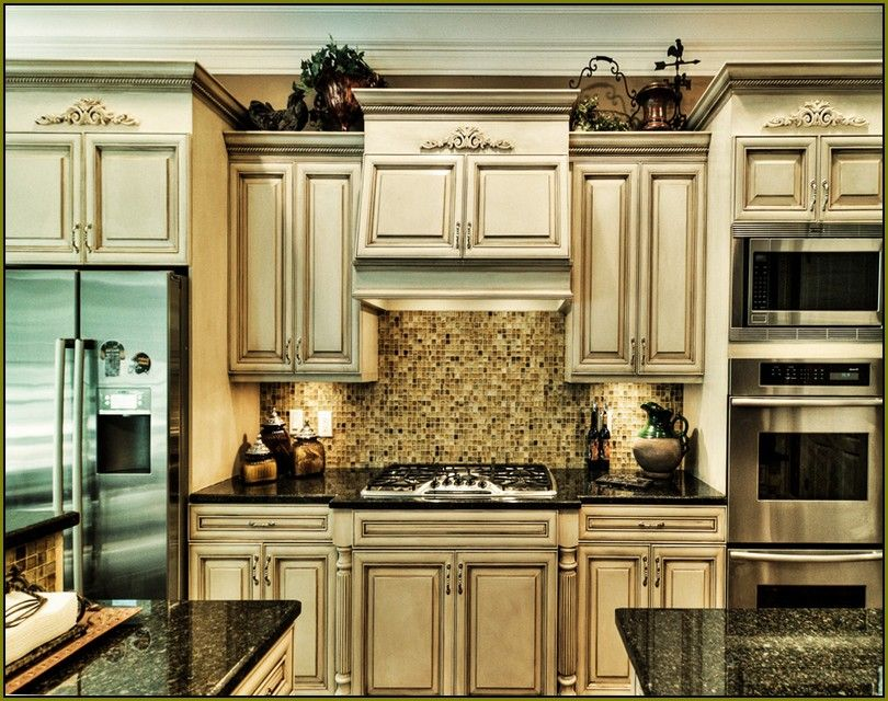 Glazed Kitchen Cabinets Cream, don't know how warm you ...