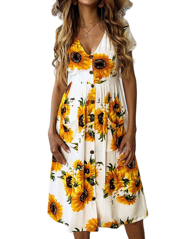 Salamola Women S Short Sleeve V Neck Boho Printed Sunflower Button Midi Skater Mid Dress With Pockets Sponsored Midi Dress Casual Dresses Womens Dresses [ 1500 x 1200 Pixel ]
