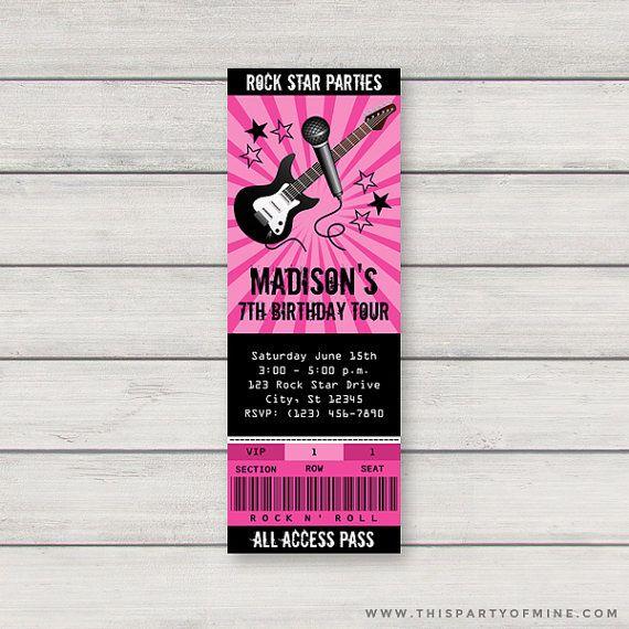 rock star concert ticket invitation printable girl pink rockstar