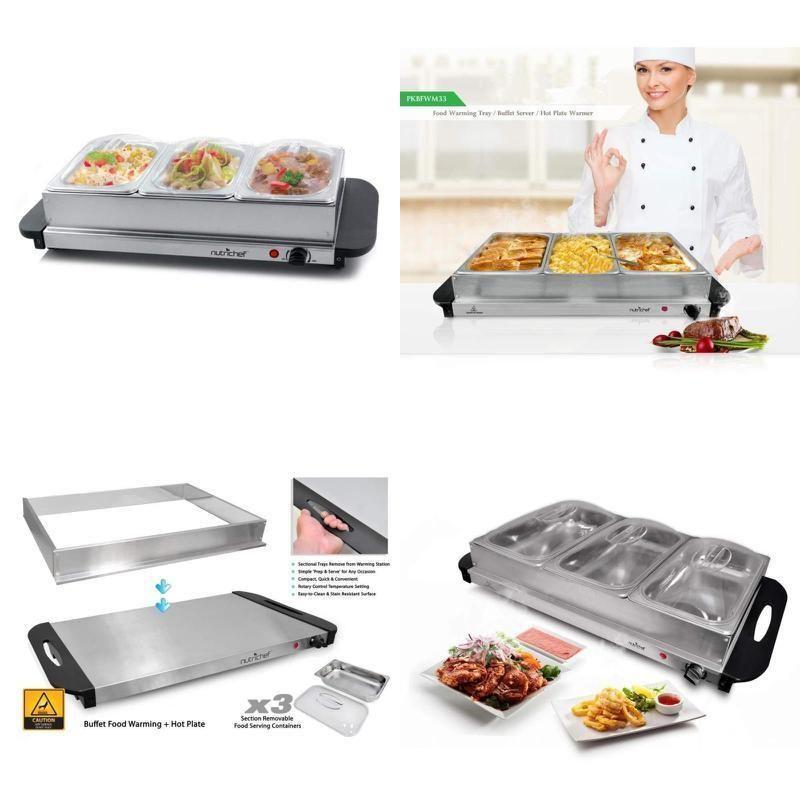 3 tray buffet server hot plate food warmer