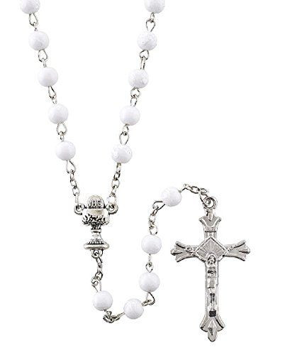 First Communion White Rosary At001 Https Www Amazon Com Dp