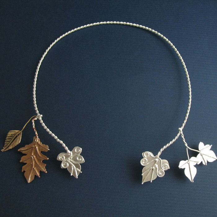 Celtic Inspired Torc Jewelry NatureInspired Ivy and Oak Leaf Neck