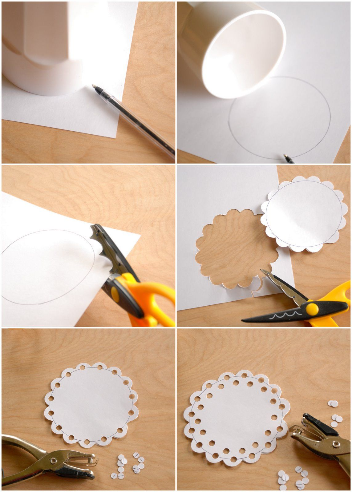 Diy Paper Doily If You Have A Scallop Punch Can Eliminate The