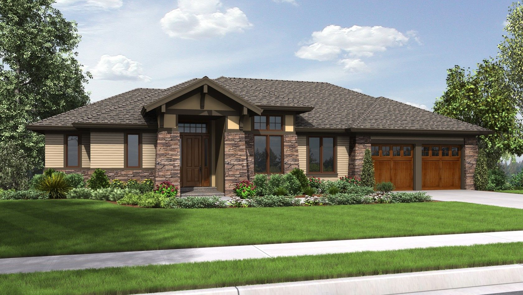 Mascord house plan 1339 house hip roof design and flat roof house Ranch style house plans