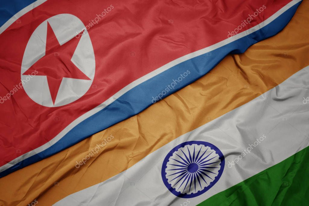 Waving Colorful Flag Of India And National Flag Of North Korea Stock P Aff Flag India Waving Colorful Ad National Flag North Korea Waves