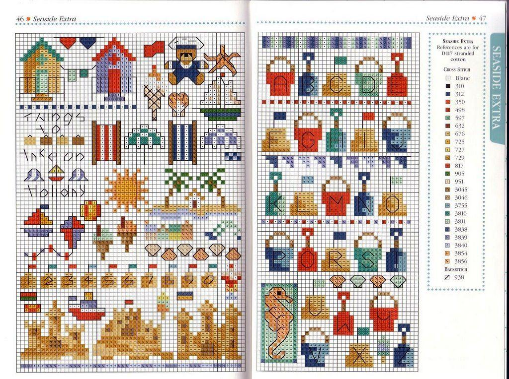 beach cross stitch and alphabet