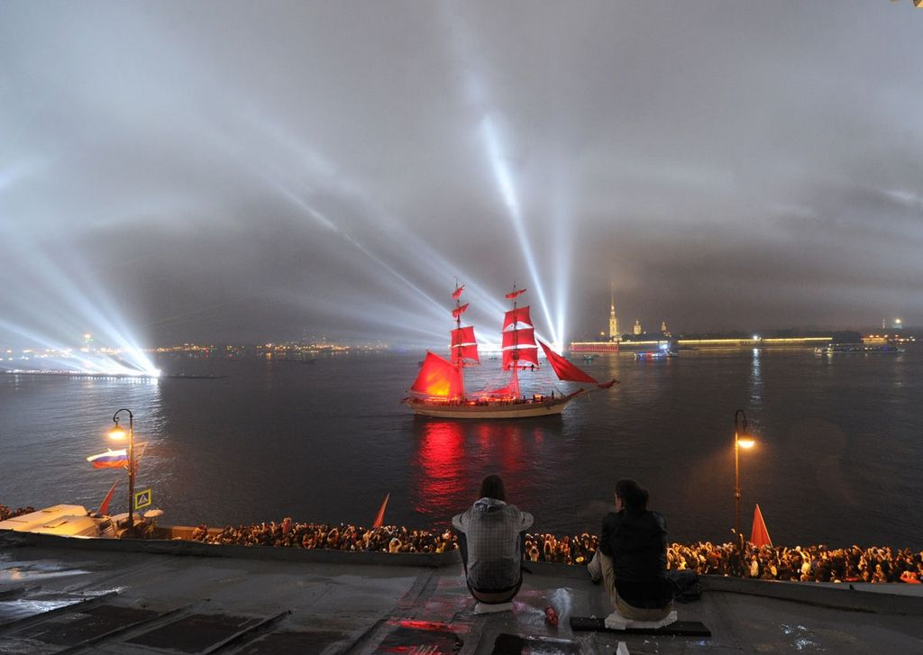 """Scarlet Sails,"" a romantic holiday with laser show to honour high schools graduates. Neva River in St. Petersburg, 2012"