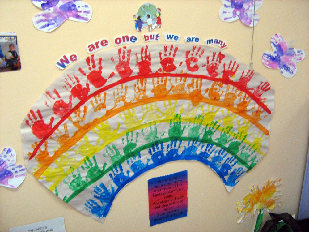 Multicultural activity ideas handprint rainbow lesson for Art and craft for classroom decoration