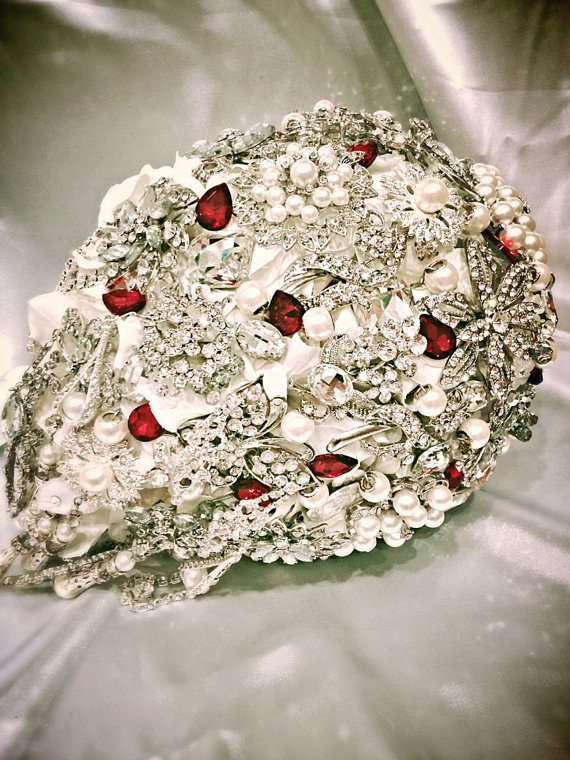 Cascading Bridal Brooch Bouquet Deposit On Made To Order Ivory