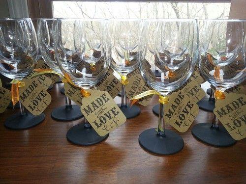 Diy Chalkboard Wine Glass Bridal Shower Wedding Favors Made With Love Bridal Shower Wine Wine Glass Wedding Favors Rustic Wedding Toasting Glasses