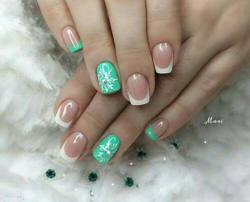 Mint green snowflakes