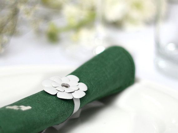 Wedding White napkin rings leather flowers table by katrinshine, $250.00