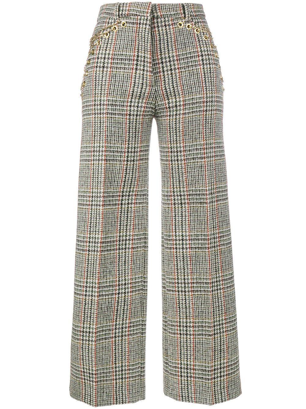 20a876c40cf8 Y / Project pantalones de cuadros con talle alto | Pantalones ...