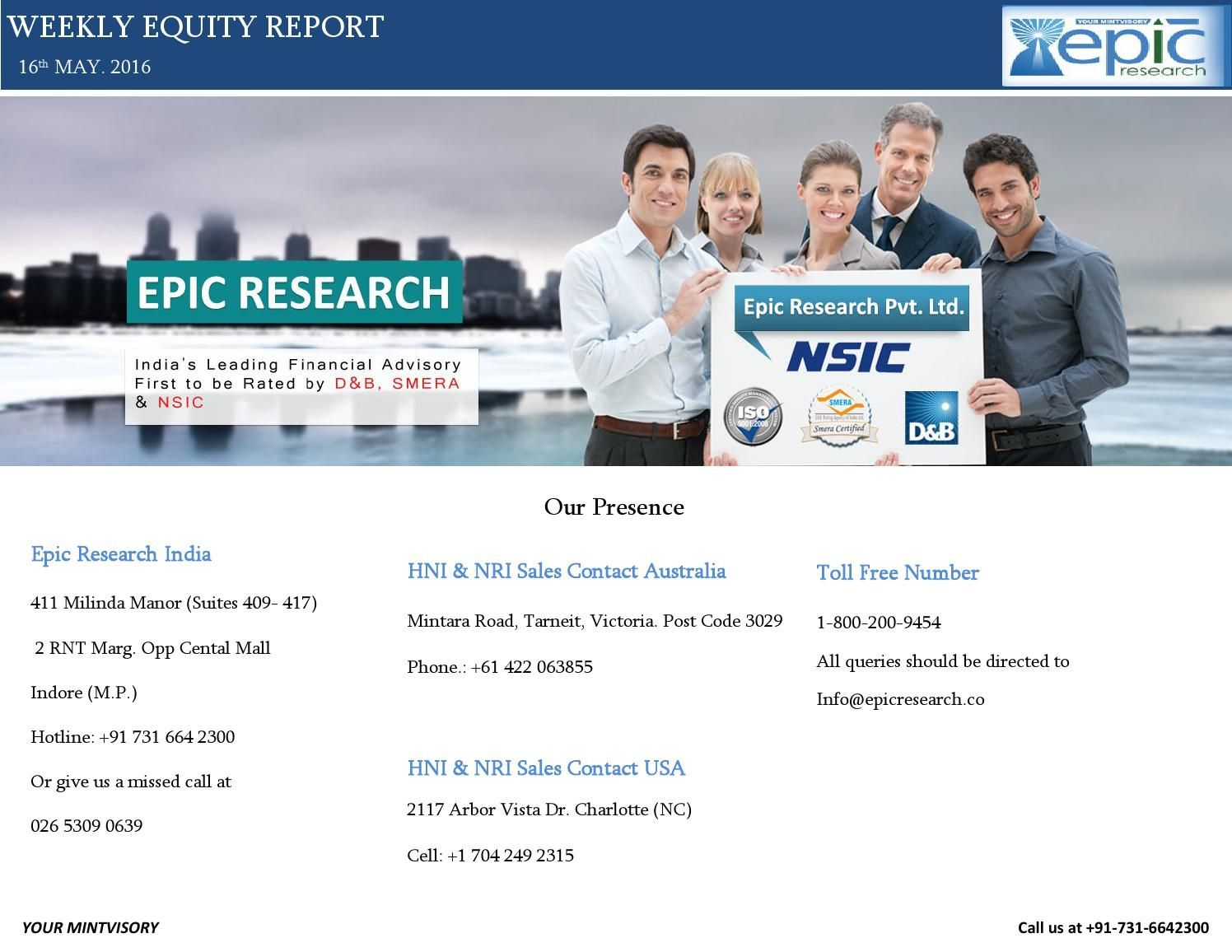 Epic research weekly equity report 16 may 2016  Epic research provides best stock tips.