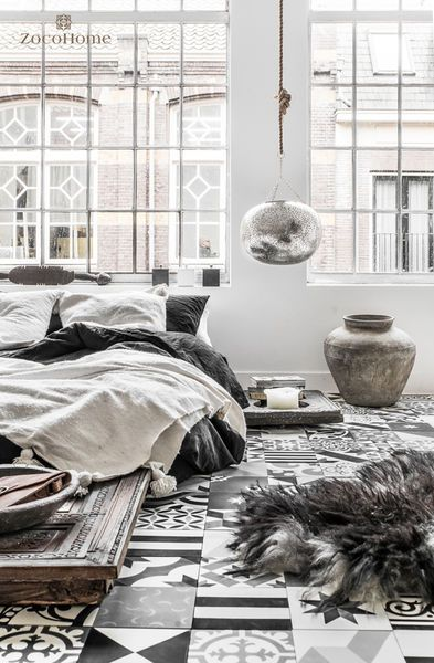 Love the mix and match of textures! The floor is out of this world!