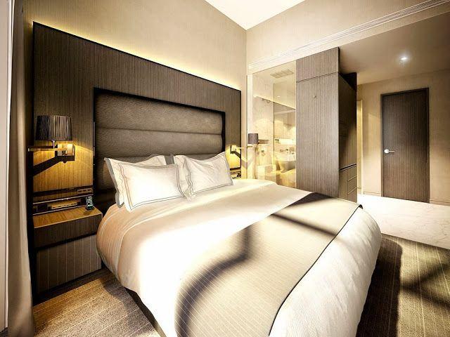 brown hotel bedroom
