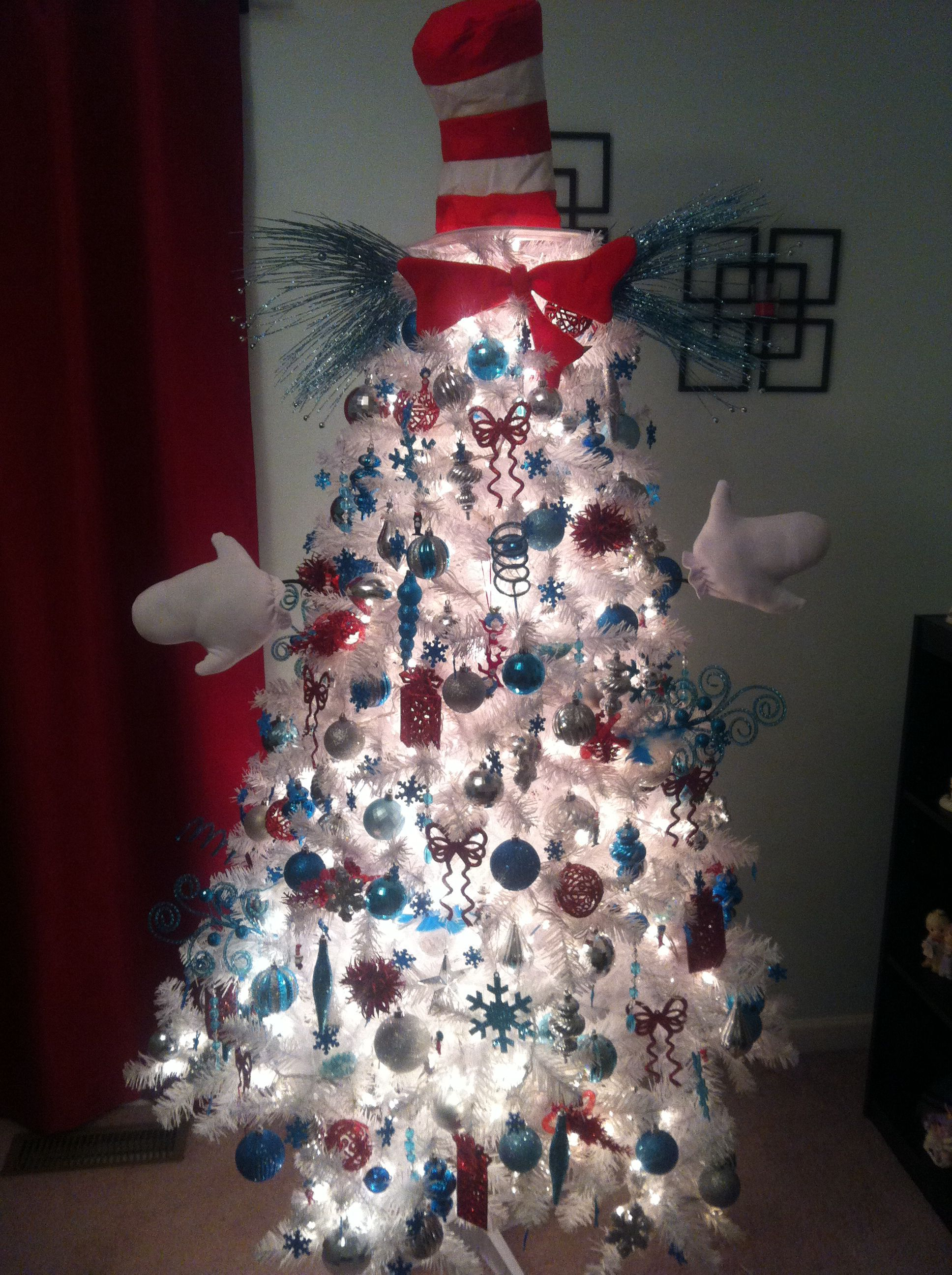My Version Of A Cat In The Hat Tree I Have Different Shade Of Blue Silver And Unique Christmas Trees White Christmas Tree Decorations Holiday Christmas Tree