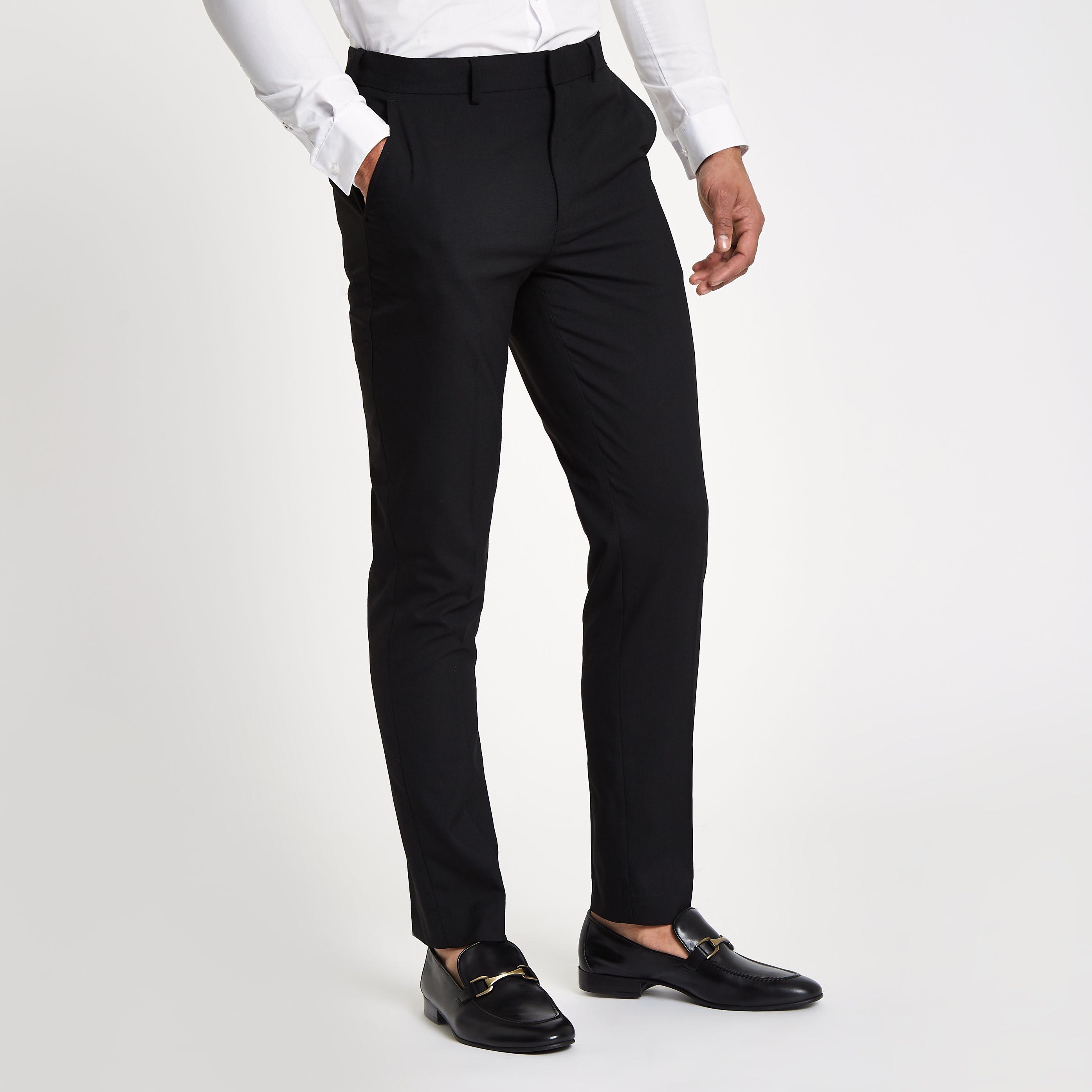 Black Slim Fit Smart Trousers Black Pants Men Black Dress Pants Men Slim Fit [ 2790 x 2790 Pixel ]