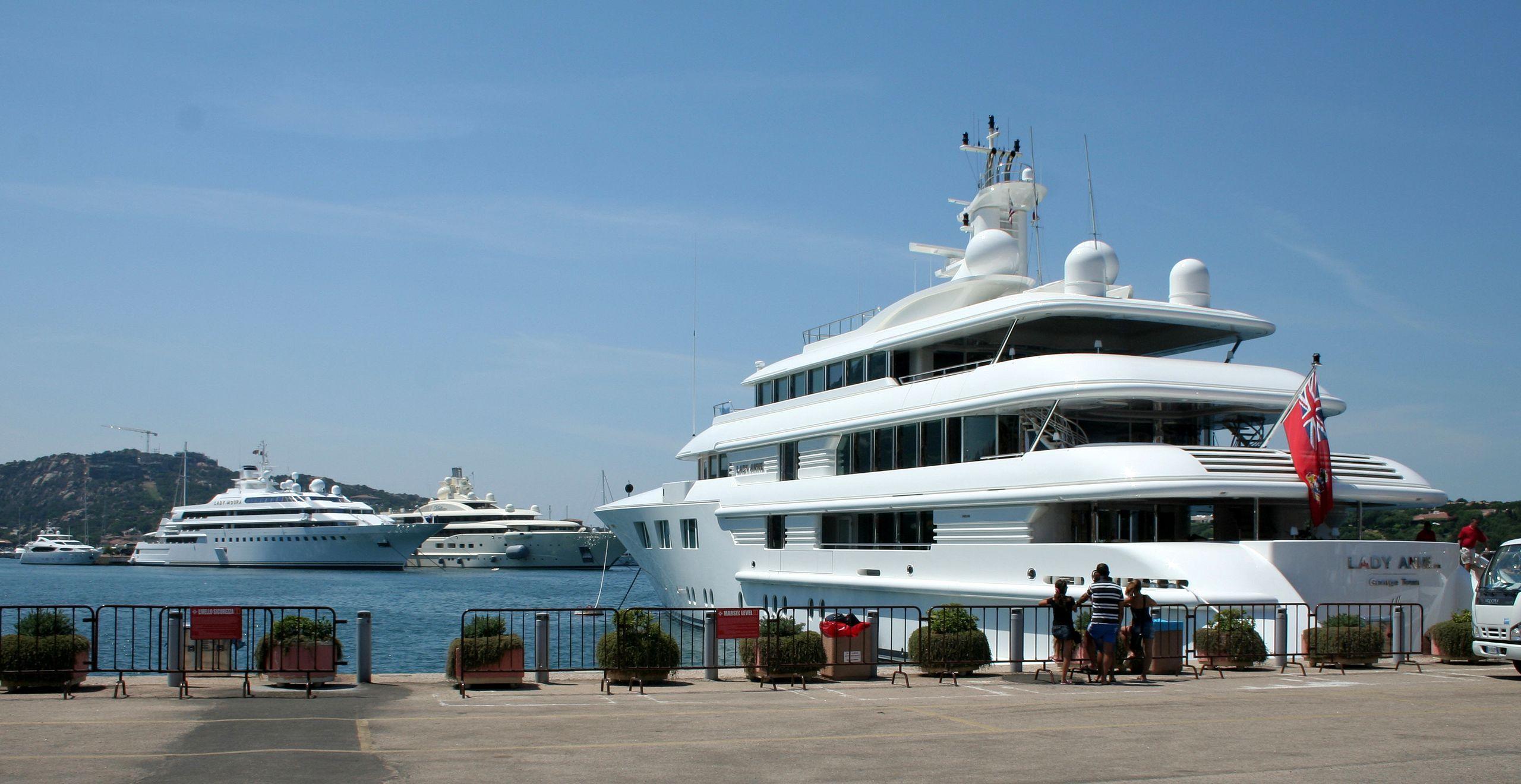Super Yachts anchored at Porto Cervo port, Costa Smeralda