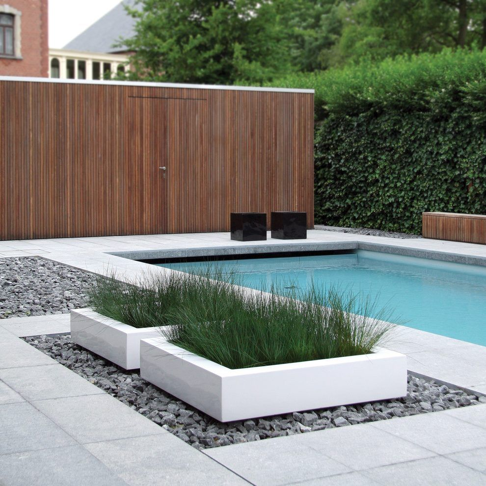 Planter Box Ideas Landscaping Pool Modern With Wood Potted