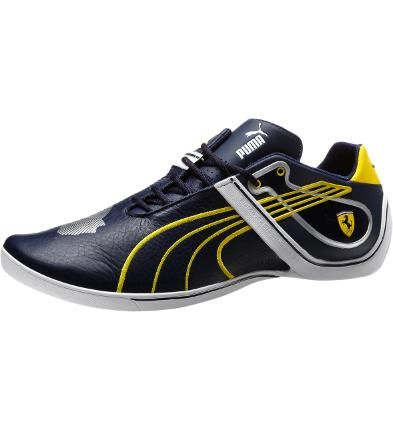 #PUMA Ferrari Future Cat Remix II Shoes, peacoat-vibrant yellow-puma silver