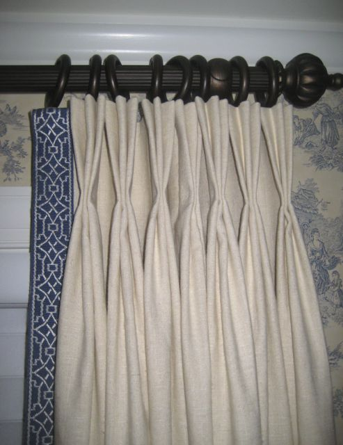 Pinch Pleated Draperies With Blue Geometric Tape Trim Www Drapery Design Com Drapery Designs Traditional Curtains Pinch Pleat Draperies