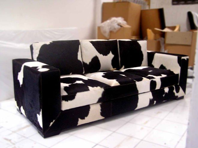 Cow Print Sofa Cowhide Couch Looks Like My Ottoman But