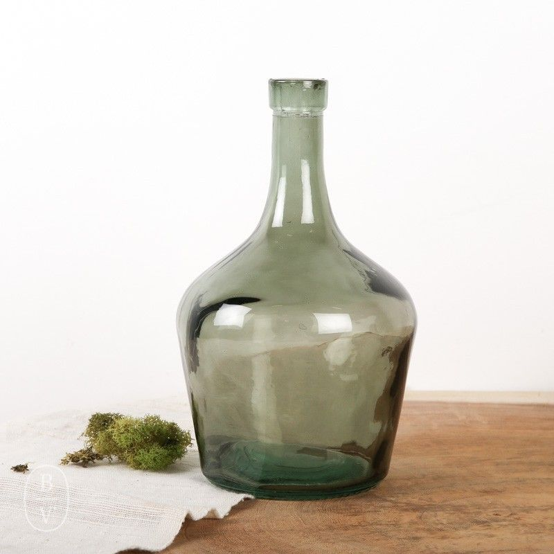 Long Neck Glass Bottle Green Glass Jars Bottles Decoration