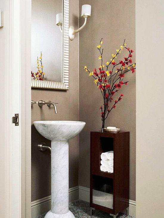 Small Powder Room Pedestal Sink
