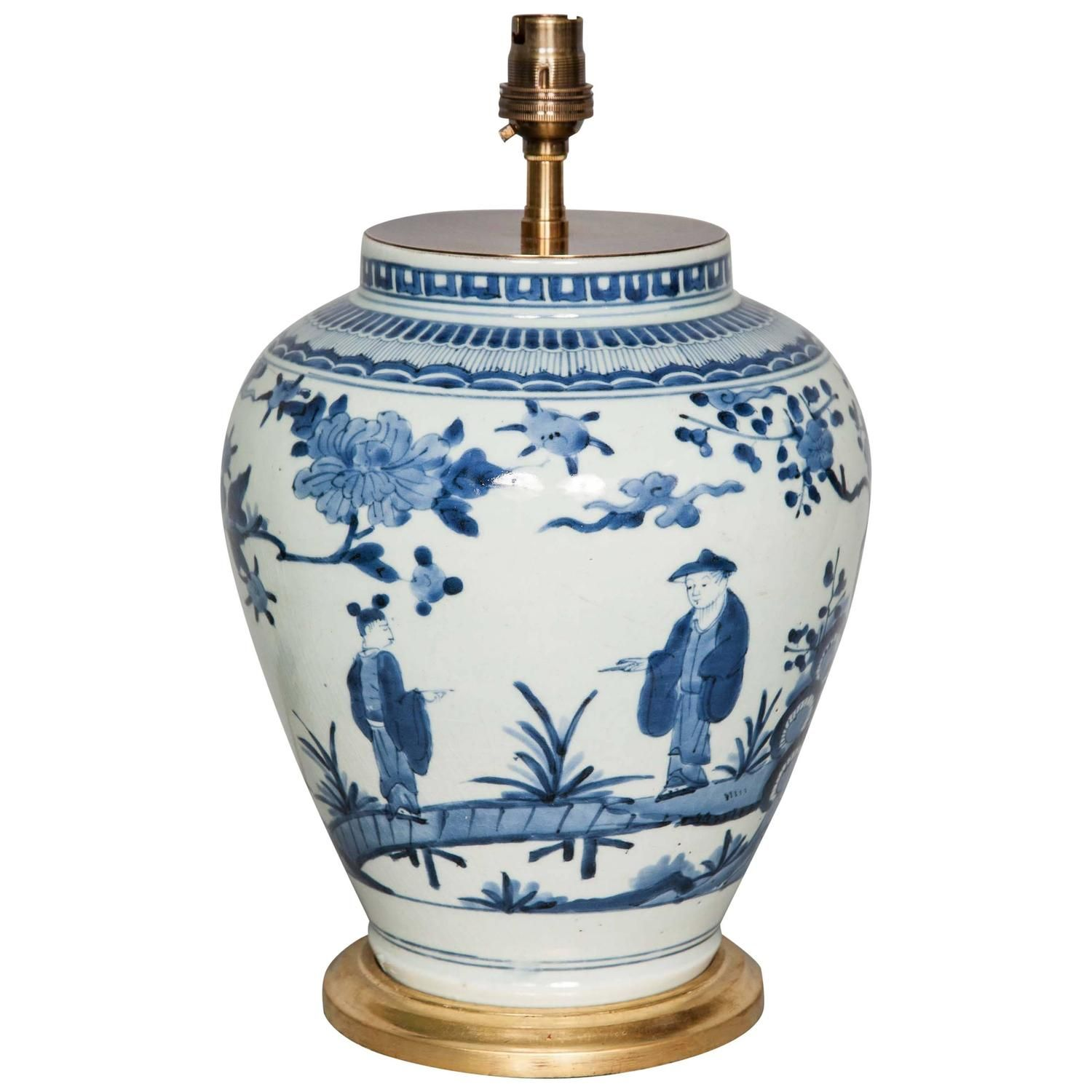 Late 17th century japanese blue and white vase lamped white late 17th century japanese blue and white vase lamped reviewsmspy