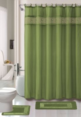 Kashi Home 15 Piece Shower Curtain Set Includes Curtain Hooks And