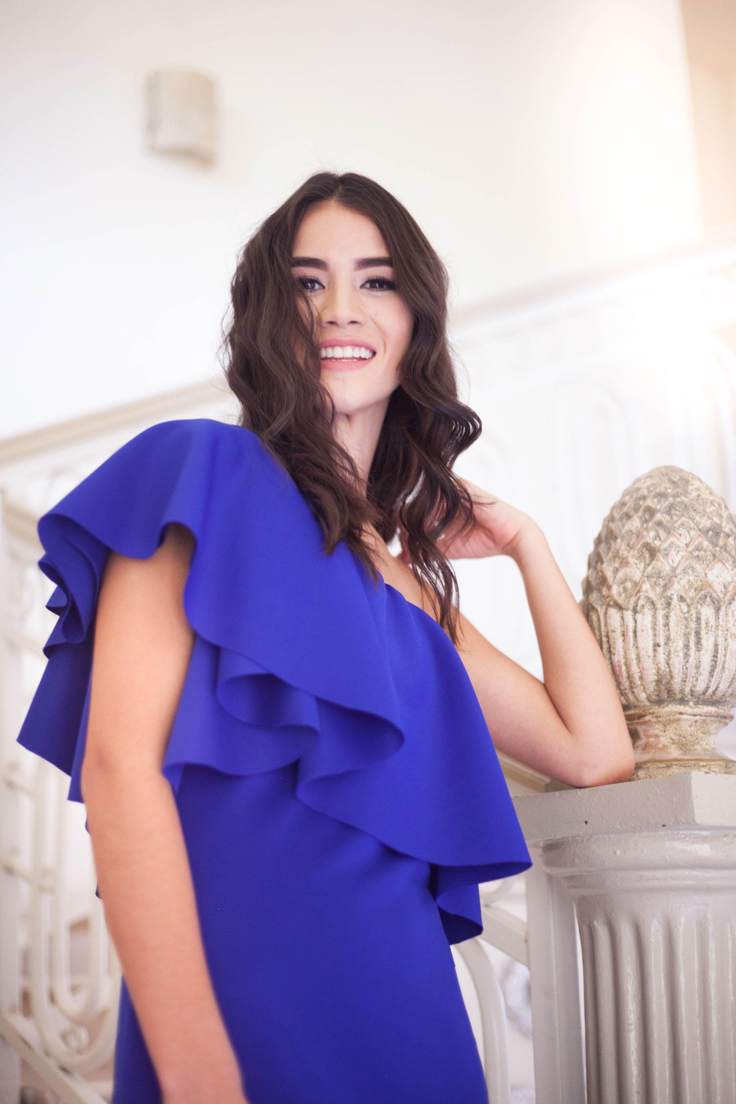 Vestido Michelle Azul Royal Con Olanes RMV Colección Primavera Vera ...