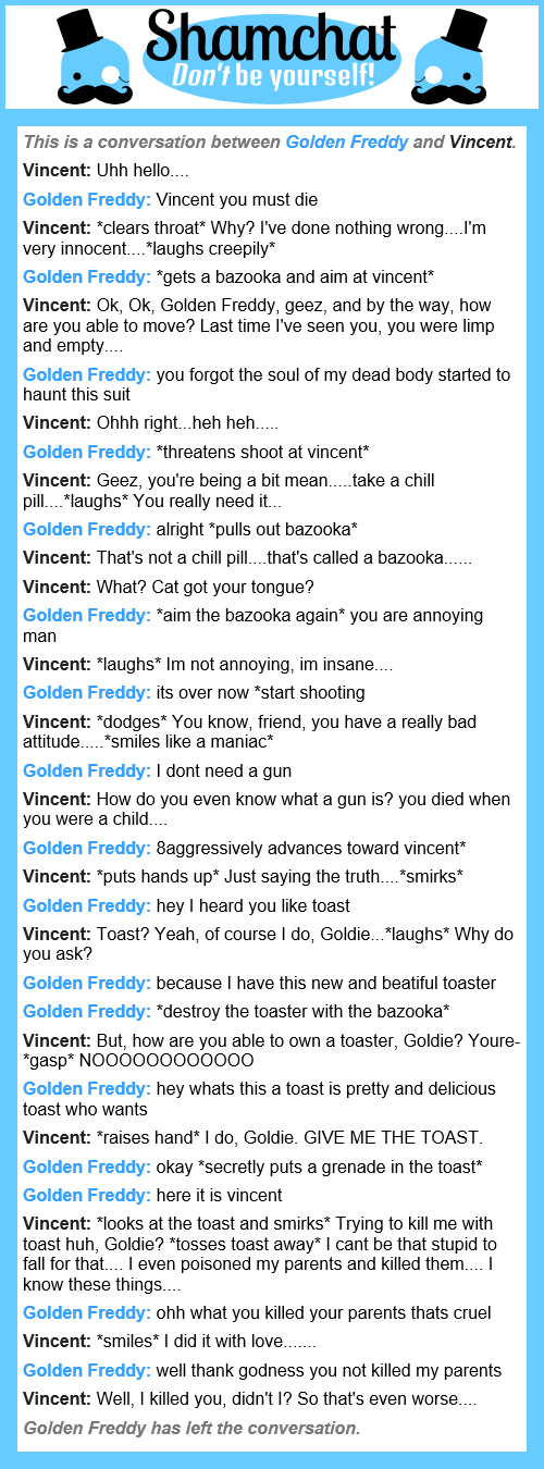 Good Job Patrick: A Conversation Between Vincent And Golden Freddy, And I