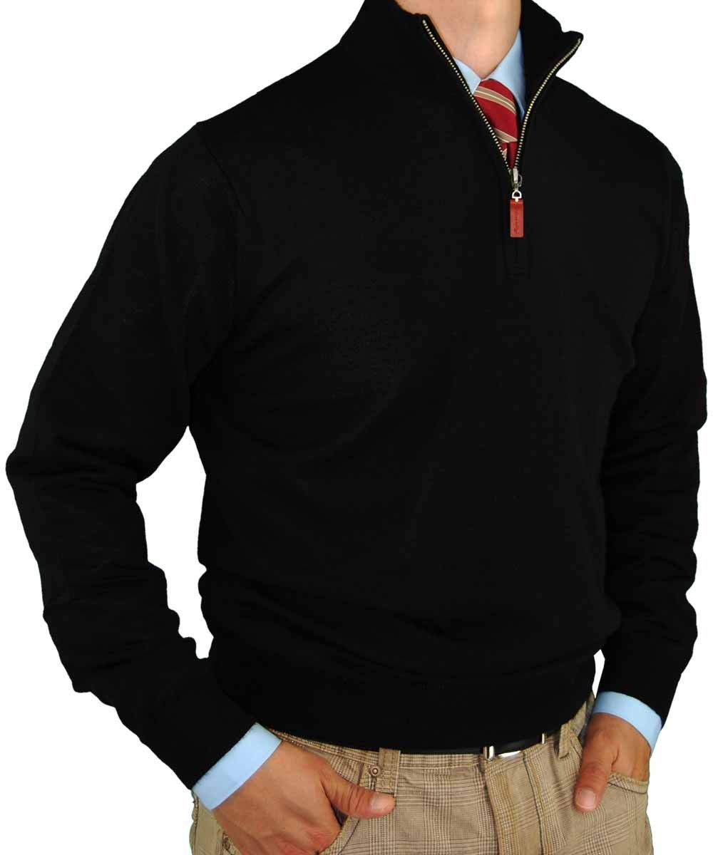 Luciano Natazzi Men Quarter Zip Mock Neck Sweater Cotton Cashmere ...