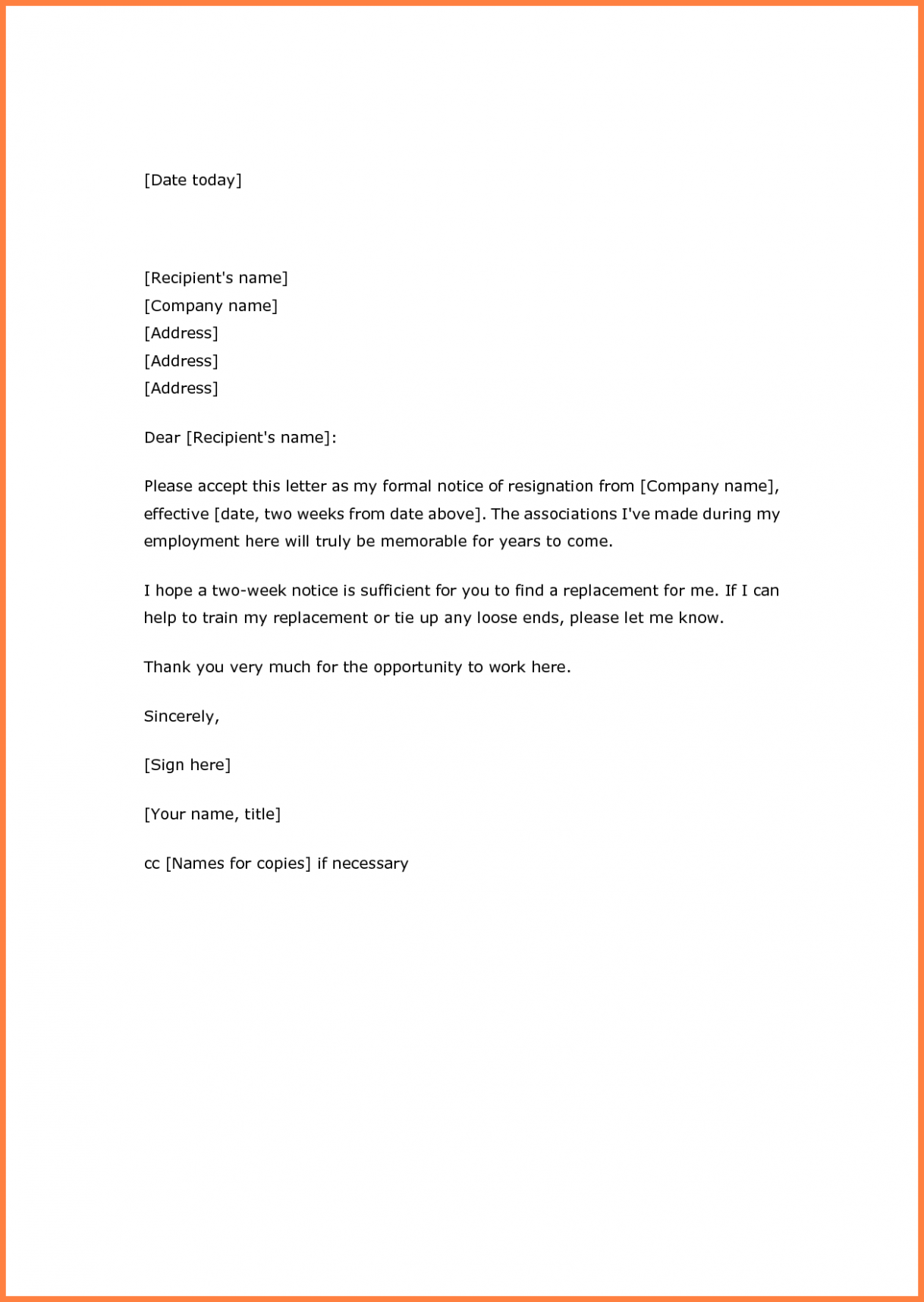 resignation letter template 3 weeks notice why you should steps to create resume in ms word summary for job change career objective safety professional