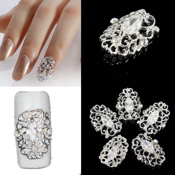 5pcs ahuecan hacia fuera el arte de uñas de metal bricolaje ...