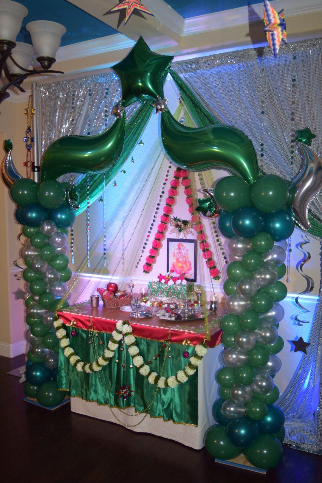 Ganapati decoration balloon and backdrop Ganapati decoration
