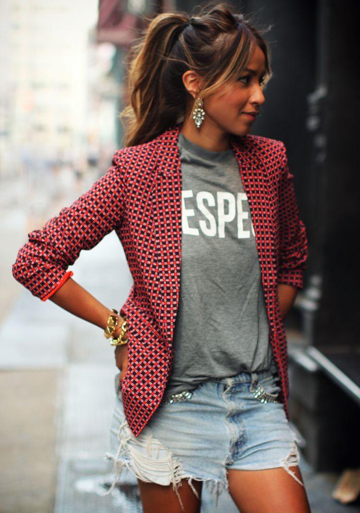 patterned blazer, t shirt, glam earrings & a ponytail. (via