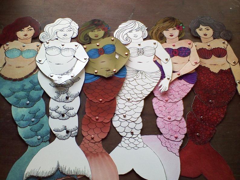 Abigail DIY fat mermaid articulated paperdoll print color cut   Etsy