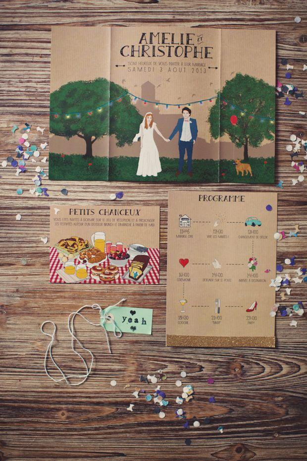 Whimsical wedding stationery | onefabday.com