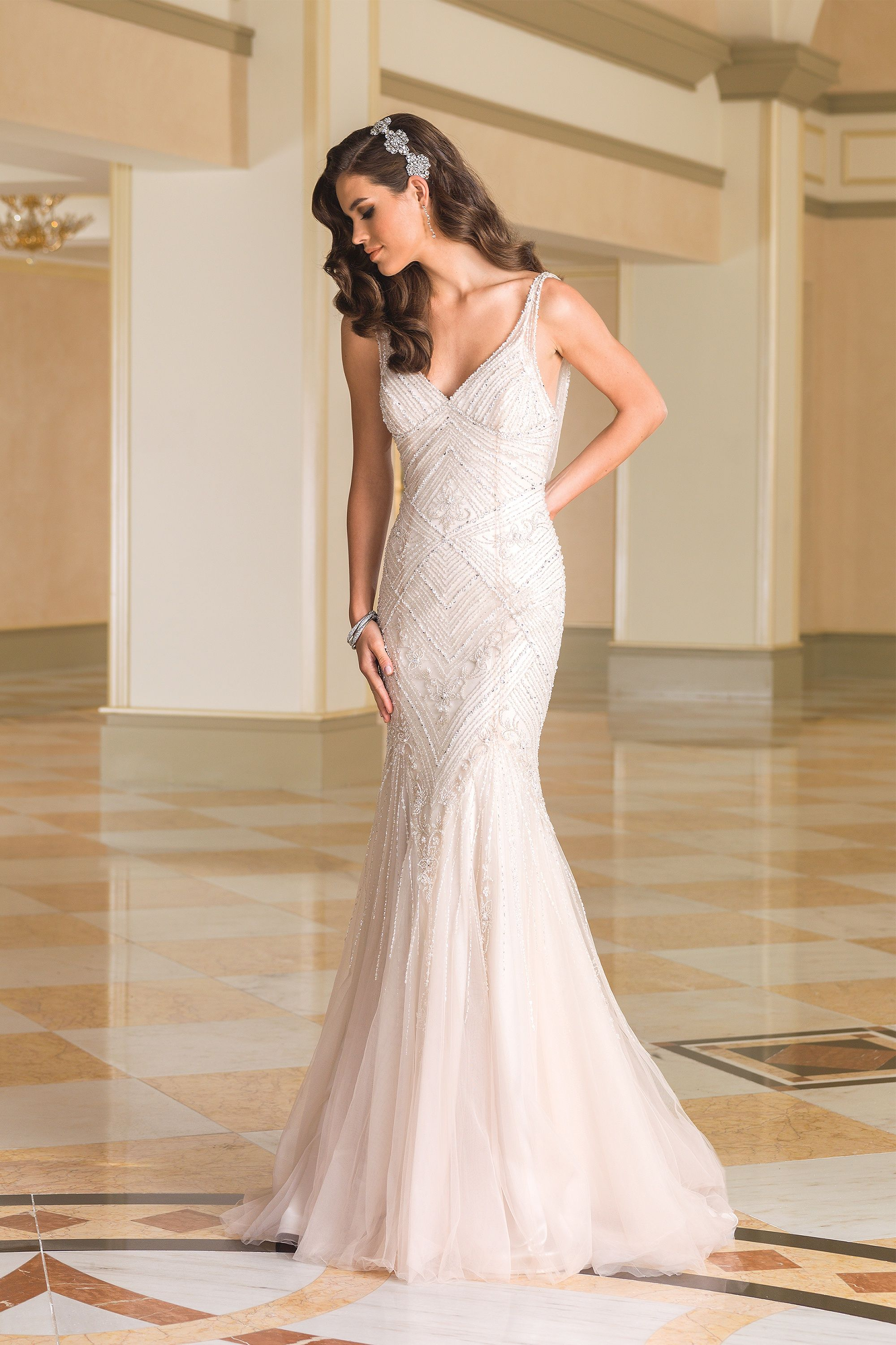 Beaded Fit and Flare V-Neck Bridal Gown with Cowl Back   Wedding ...