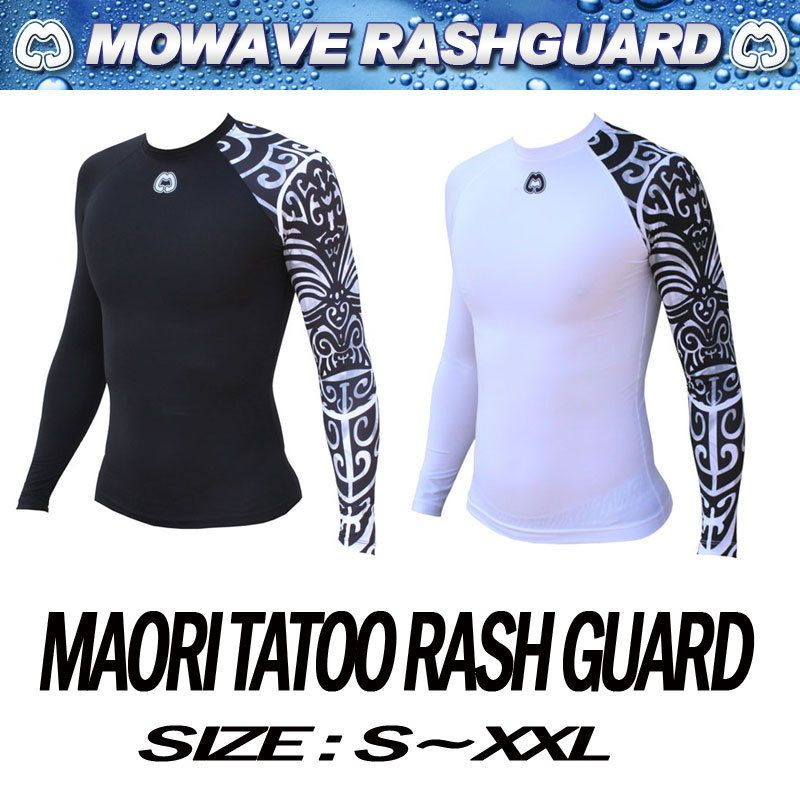 Mowave Hombres Correr Rashguard De Bano Maori Tatoo Athletic Surf
