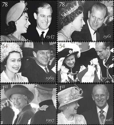 vintage-royalty A series of stamps featuring images of Queen Elizabeth II with the Duke of Edinburgh to celebrate the royal couple's 60th wedding anniversary