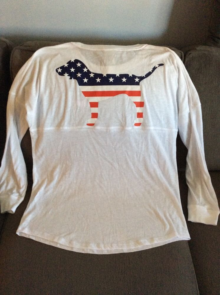 Victoria's Secret PINK FOURTH OF JULY DOG LOGO VARSITY CREW TEE ...