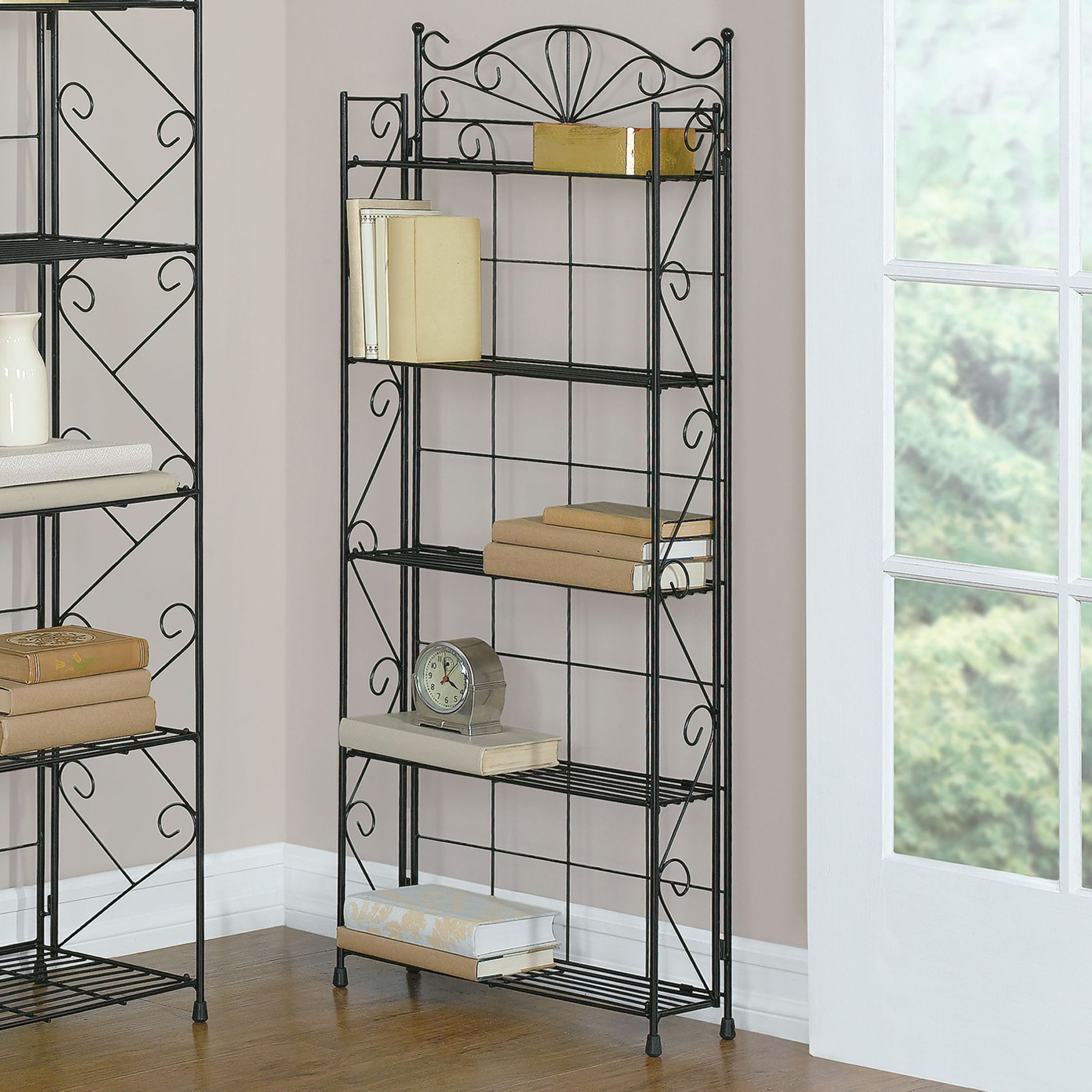 Wrought Iron 5 Shelf Media Rack Living Room Furniture Brylanehome